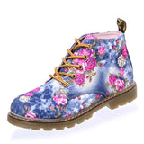Women Boots Floral Printed Martin Boots Soft Sole Ankle Boots for Women Lace up Platform Shoes Woman XWN0476-5-Dollar Bargains Online Shopping Australia