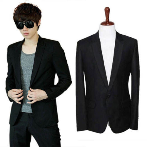 LMen Slim Fit Stylish Casual One Button Suit Coat Jacket Business Blazer Black
