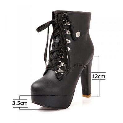 Women Faux Leather Ankle Boots Designer Fashion Platform Chunky High Heels Lace Up Short Booties Woman Autumn Winter Shoes-Dollar Bargains Online Shopping Australia