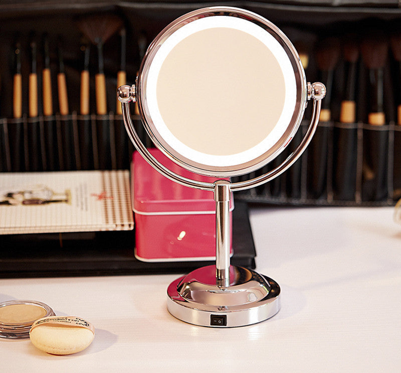 China6 Inch Led Cosmetic Mirror with Light 1/3X Stainless Steel 3 pcs AA Battery Makeup Mirror with Light Table Stand Mirror