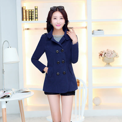 Women Woolen Coats 2016 Winter Trench Coat Fashion Solid Double Breasted Overcoat Turn-down Collar Slim Outerwear C8103 - Dollar Bargains - 2