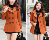 Women Wool Coats Winter Trench Coat Fashion Solid Double Breasted Overcoat Turn-down Collar Slim Outerwear C8103-Dollar Bargains Online Shopping Australia