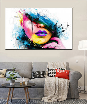 Wall Art For Large Walls Fashion Unframed Canvas Painting Sexy Women Face Picture Abstract Figures Oil Painting For Room Decor-Dollar Bargains Online Shopping Australia