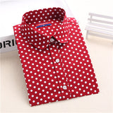 New Brand Polka Dot Shirt Women Long Sleeve Blouse Cotton Plus Size Ladies Tops Turn-Down Collar-Dollar Bargains Online Shopping Australia