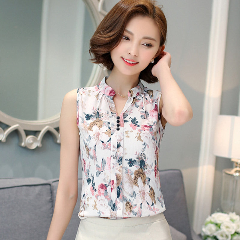 8d5aee93138d Fashion Summer Chiffon Blouse Women Printed Sleeveless Blouse Floral Print  Blouses Shirts Office Shirt-Dollar