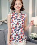 Fashion Summer Chiffon Blouse Women Printed Sleeveless Blouse Floral Print Blouses Shirts Office Shirt-Dollar Bargains Online Shopping Australia
