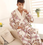 Autumn winter thick long flannel robe male coral fleece bathrobe lengthen men plus size brand long-sleeve sleepwear-Dollar Bargains Online Shopping Australia