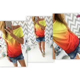 summer women t shirt vestidos rainbow gradual change print tops casual female-Dollar Bargains Online Shopping Australia