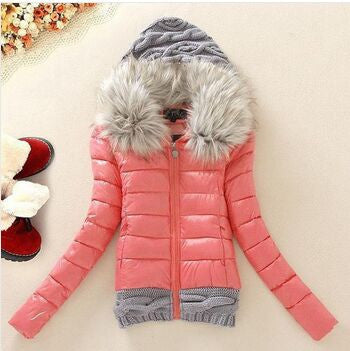 2016 Women Winter Coat Cotton Padded Jacket Short Knitted Hood Fur Collar Womens Winter Jackets and Coats - Dollar Bargains - 5