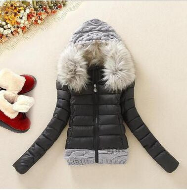 2016 Women Winter Coat Cotton Padded Jacket Short Knitted Hood Fur Collar Womens Winter Jackets and Coats - Dollar Bargains - 6