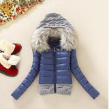 Women Winter Coat Cotton Padded Jacket Short Knitted Hood Fur Collar Womens Winter Jackets and Coats-Dollar Bargains Online Shopping Australia