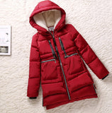 Women parka thick 2016 wadded jacket female winter jacket women outerwear slim jackets medium-long down cotton parkas red coats - Dollar Bargains - 1