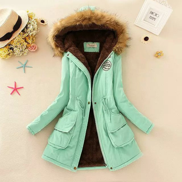 Aqua / LThicken Warm Winter Fur Collar Jackets for Women New Women's Long Down Parka Plus Size 3XL Parka Hoodies Parkas for Women