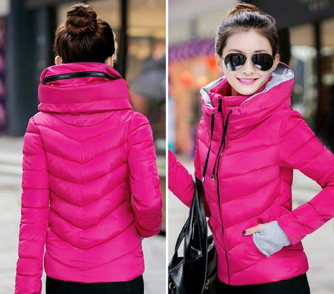 New Wadded Winter Jacket Women Cotton Short Jacket Fashion 2016 Girls Padded Slim Plus Size Parkas Stand collar Coat DT1 - Dollar Bargains - 4