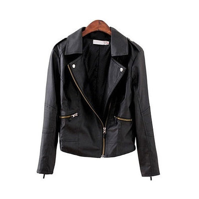 2016 New Fashion Turn Down Collar Women Leather Jackets Slim PU Leather Motor Jacket for Women Casaco Feminino Size 3XL, CB018 - Dollar Bargains - 3