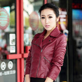 2016 New Fashion Turn Down Collar Women Leather Jackets Slim PU Leather Motor Jacket for Women Casaco Feminino Size 3XL, CB018 - Dollar Bargains - 2