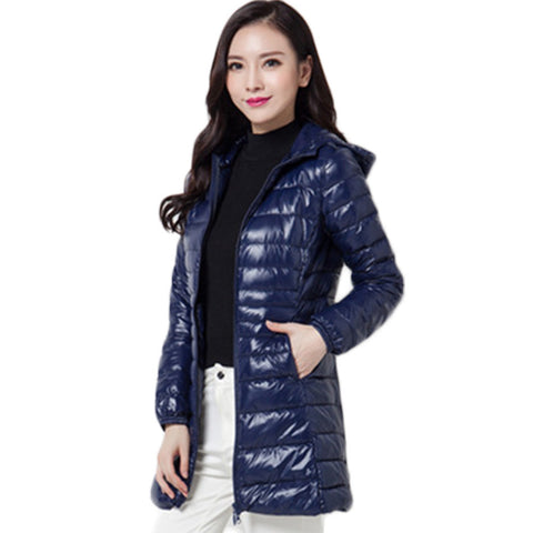 2016 Top Quality Brand Ladies Long Spring Autumn Overcoat Women Ultra Light 90% White Duck Down Coat With Bag ladies' Jackets - Dollar Bargains - 8