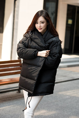 winter women loose fit coat fashion cute parkas hooded jacket overcoat medium casual plus size duck down overcoat snowear-Dollar Bargains Online Shopping Australia