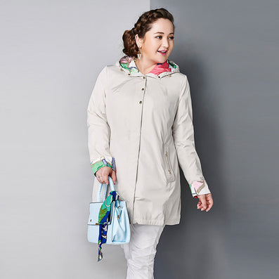 Women's Coat High Quality Spring Autumn Trench Coat Slim Hooded Chain Big Size Fashion AY-1670-Dollar Bargains Online Shopping Australia