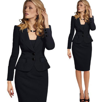 Womens Autumn Winter Long Sleeve Turn Down Collar Button Wear to Work Blazer 1359-Dollar Bargains Online Shopping Australia