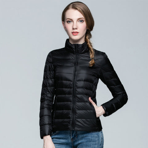 Women Ultra Light Down Jacket Hooded Winter Duck Down Jackets Women Slim Long Sleeve Parka Zipper Coats 2016 Pockets Solid - Dollar Bargains - 1
