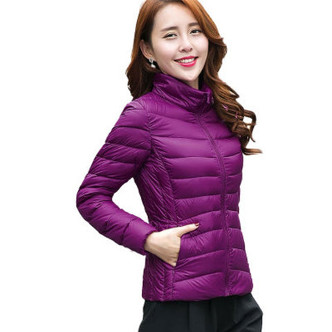 Women Ultra Light Down Jacket Hooded Winter Duck Down Jackets Women Slim Long Sleeve Parka Zipper Coats 2016 Pockets Solid - Dollar Bargains - 6