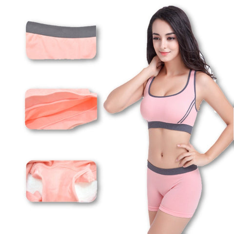 1 Set For Women Underwear Breathable Bra Fashion Seamless Padded Casual Brassiere Set, Bra + Shorts 1 Set - Dollar Bargains - 4