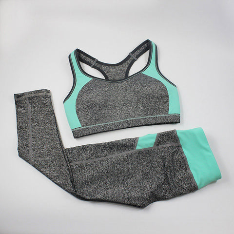 Women Fitness Suit Workout Clothes Women Set Wirefree Patchwork Padded Bra Crop Top + Elastic Legging Capris For Wome - Dollar Bargains - 4
