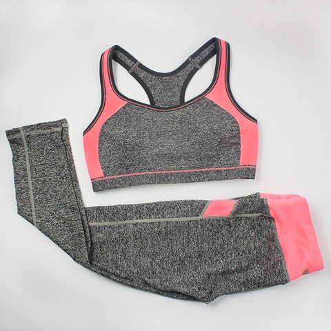 Women Fitness Suit Workout Clothes Women Set Wirefree Patchwork Padded Bra Crop Top + Elastic Legging Capris For Wome - Dollar Bargains - 2