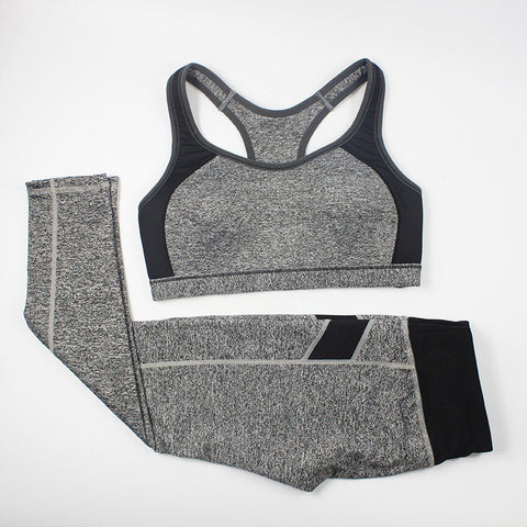 Women Fitness Suit Workout Clothes Women Set Wirefree Patchwork Padded Bra Crop Top + Elastic Legging Capris For Wome - Dollar Bargains - 5