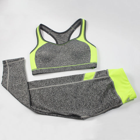 Women Fitness Suit Workout Clothes Women Set Wirefree Patchwork Padded Bra Crop Top + Elastic Legging Capris For Wome - Dollar Bargains - 3