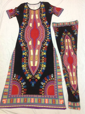 2016 Summer Wome Traditional African fashion With Side Split Long Dress And Women Traditional African fashion Leggings 2pcs Sets - Dollar Bargains - 5