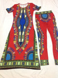 2016 Summer Wome Traditional African fashion With Side Split Long Dress And Women Traditional African fashion Leggings 2pcs Sets - Dollar Bargains - 4