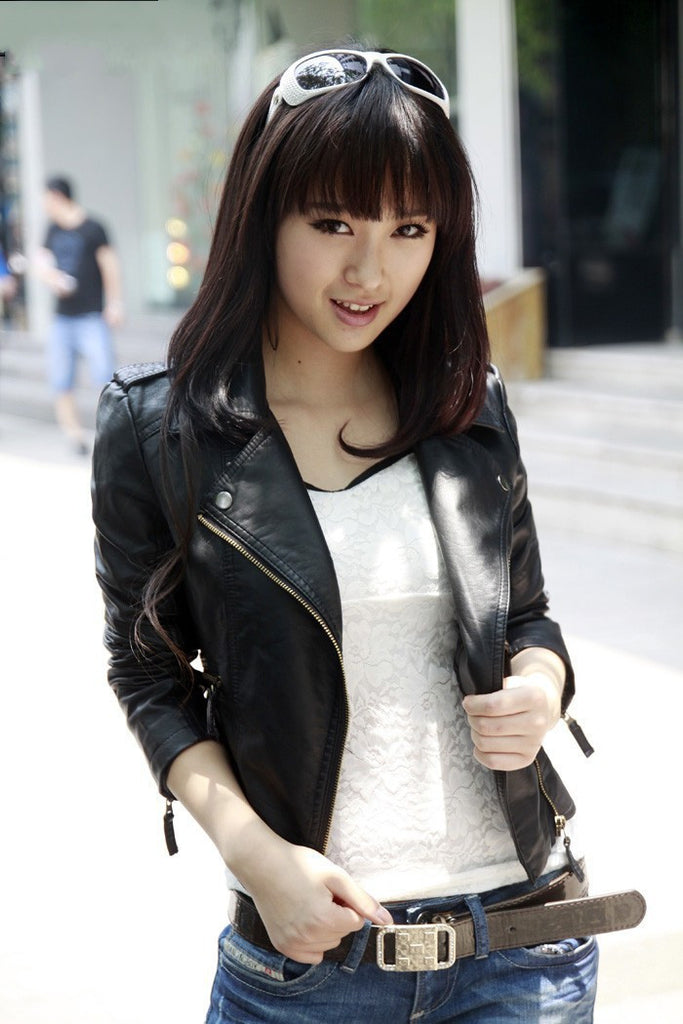 Autumn Women jacket pu fashion new brand plus size black leather jacket European style oblique zipper motorcycle PU jacket - Dollar Bargains - 2