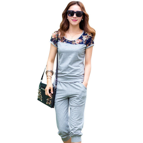 TLZC Lace Patchwork Women Fashion Sets 2 Pieces Lady Clothing Set Large Size M-4XL 2016 Summer Women Casual Suits Tops + Pants - Dollar Bargains - 2
