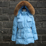 TOP Quality Large Real Fur 2016 Winter Jacket Women Raccoon Fur Collar Hooded Thick Down Coat For Women Winter Parka - Dollar Bargains - 2