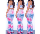 Tie Dye 2 Piece Set Women Jumpsuit Long Romper Strapless Crop Top And Flare Pants Casual Bodysuit Fashion Playsuit Overalls-Dollar Bargains Online Shopping Australia