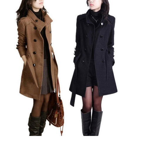 2016 New Women Trench Woolen Coat Winter Slim Double Breasted Overcoat Winter Coats Long Outerwear for Women Plus Size Coat Y707 - Dollar Bargains - 1