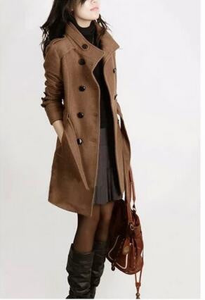 2016 New Women Trench Woolen Coat Winter Slim Double Breasted Overcoat Winter Coats Long Outerwear for Women Plus Size Coat Y707 - Dollar Bargains - 2