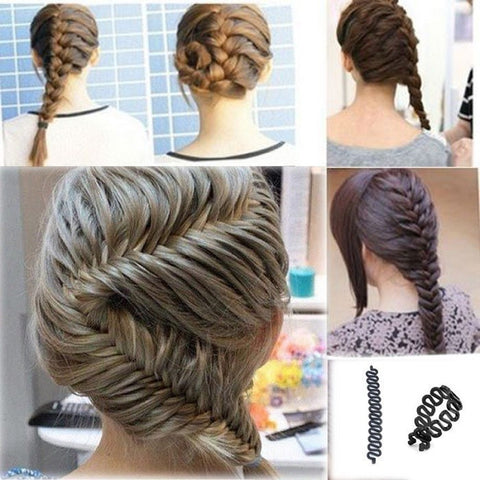 1 PC Women Lady French Hair Braiding Tool Braider Roller Hook With Magic Hair Twist Styling Bun Maker Hair Band Accessories - Dollar Bargains