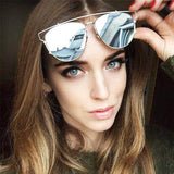 Fashion Classic TECHNOLOGIC Cat Eye Sunglasses Women Luxury Brand Metal Frame Vintage Sun Glasses Female Male Mirror Eyewear-Dollar Bargains Online Shopping Australia