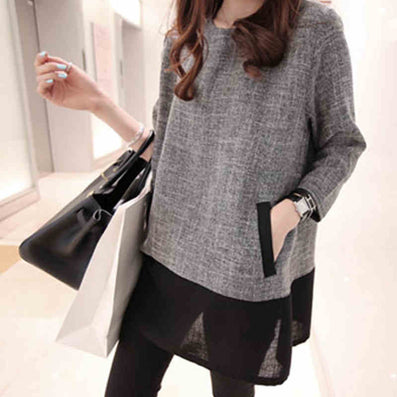 Women Tops And Blouses New Fashion Plus Size Women Clothing O-Neck Long Sleeve Linen Shirts White Grey XXXL 4XL 5XL-Dollar Bargains Online Shopping Australia