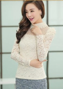 Plus size M-XXL Blouse 2016 New fashion Women's Stand Pearl Collar Lace Crochet Blouses Shirts Long Sleeve Sexy Tops For Women - Dollar Bargains - 2