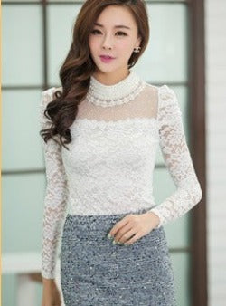 Plus size M-XXL Blouse 2016 New fashion Women's Stand Pearl Collar Lace Crochet Blouses Shirts Long Sleeve Sexy Tops For Women - Dollar Bargains - 3