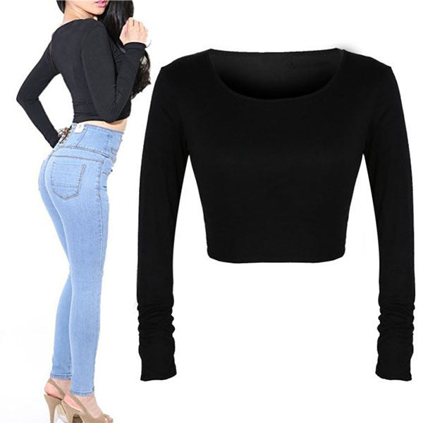 Fashion Sexy Women Crooped Tops Long Sleeve Hot Clubwear Tops Cropped T-shirt - Dollar Bargains - 4
