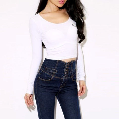 Fashion Sexy Women Crooped Tops Long Sleeve Hot Clubwear Tops Cropped T-shirt - Dollar Bargains - 5