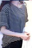 Summer T Shirt Women All-match Basic Tee Shirt Femme Female Top Young Girl Stripe Loose Half Sleeve HARAJUKU T-shirts-Dollar Bargains Online Shopping Australia