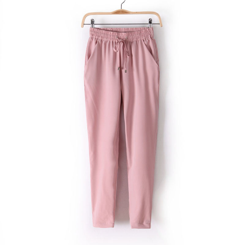 Hot Sale Casual Women Chiffon Pants Elastic Waist Solid Color Office OL Pants Summer Slim Lady Pants  AB17 - Dollar Bargains - 3