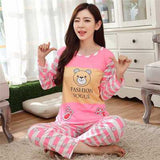 19 Styles Casual Women Pajamas Set Cartoon O-Neck Long Sleeve Pyjamas For Women Summer Nightwear Sleepwear Suit Pink M~XL - Dollar Bargains - 2