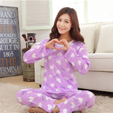 19 Styles Casual Women Pajamas Set Cartoon O-Neck Long Sleeve Pyjamas For Women Summer Nightwear Sleepwear Suit Pink M~XL - Dollar Bargains - 18